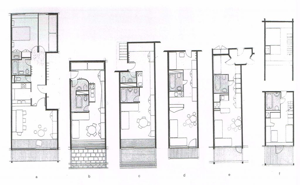 Evolution des plans des appartements 1969-85